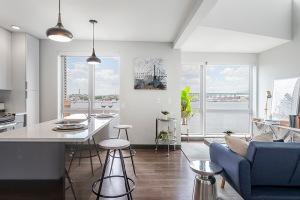 bright, open concept apartment interior