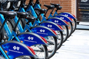 Bluebikes lined up in front of Boston East